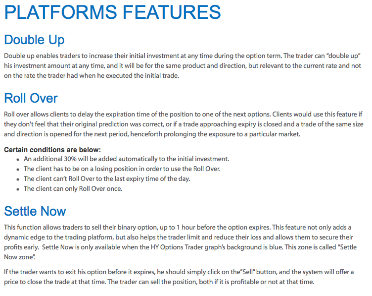 HY options platform features